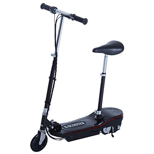 Homcom-Patinete eléctrico plegable, con freno de mano y asiento ajustable, Negro , 82*37*96 +LED